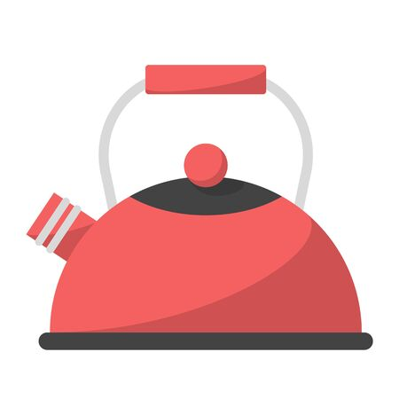Red kettle vector isolated. Hot pot, kitchen utensil. Object for water boil.