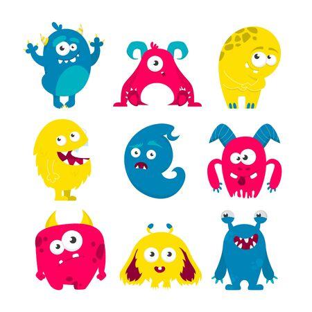 Vettore stabilito del mostro isolato. Collezione di creature colorate e carine luminose. Mostro con il corno sorridente. Alieno divertente.