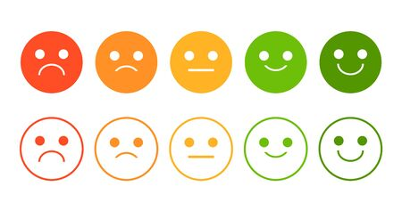 Emoji rating system vector isolated. Smiley face icon collection, bad and good opinion. Quality ranking in the internet. Negative and positive feedback.
