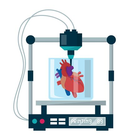 3D bioprinting vector isolated. Medical equipment for organ reconstruction. Replicate device in healthcare, science and biology. Duplicate cells and make human implant. Heart organ