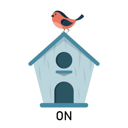 Bird and birdhouse, learning preposition vector isolated. Preschool education, study position of the object. Bird is sitting on the birdhouse.