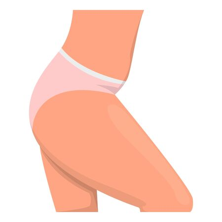 Female hips side view. Belly and hip vector isolated. Woman in inderwear. Body part illustration.