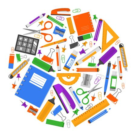 Stationery set vector isolated. Collection of school and office supplies. Notebook, pen and pencil, ruler of various shapes and eraser. Scissors and calculator for education.