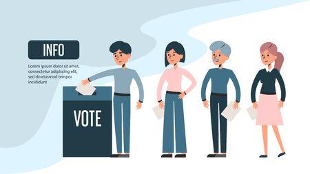 Groupe de personnes faisant la queue devant l'urne et tenant un bulletin de vote. Élection présidentielle, démocratie. Homme et femme vector illustration isolée. Conception de bannière Web.