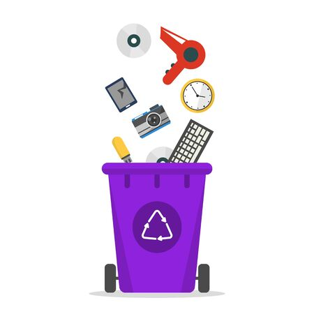 E-waste falling in the trash bin vector isolated. Recycling electronic rubbish. Container for the useleess computer devices.