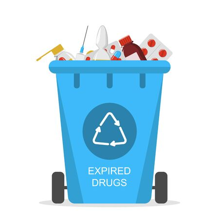 Recycle bin for the expired drugs vector isolated. Separate your garbage concept. Medicine material, rubbish in the trash box.