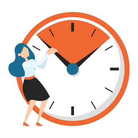 Business woman standing at the big clock vector isolated. Deadline idea, woman trying to stop the time. Employee in panic. Stok Fotoğraf - 134613921