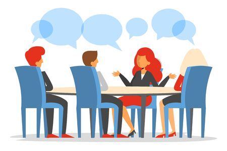 Business meeting in conference room vector isolated web banner design. Discussion in office, business project. Group of people training. Colleagues meeting.