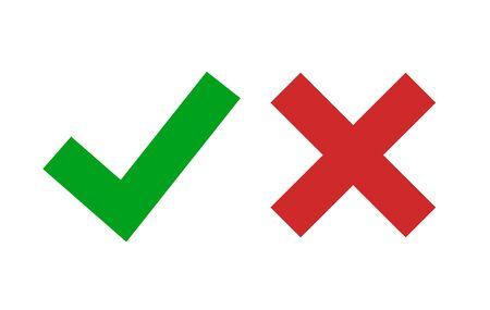 Segno di spunta icona vettore isolato. Segno verde sì e rosso nessun simbolo. Elemento positivo e negativo.