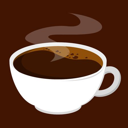 A cup of hot americano coffee vector isolated. Tasty beverage in white mug. Aroma drink made of coffee bean. Black morning caffeine drink.