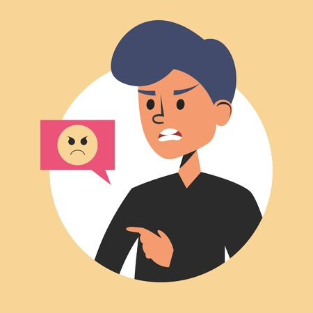 Angry man and emoji symbol vector isolated. Person in anger, furious expression on the face. Irritated mad guy.