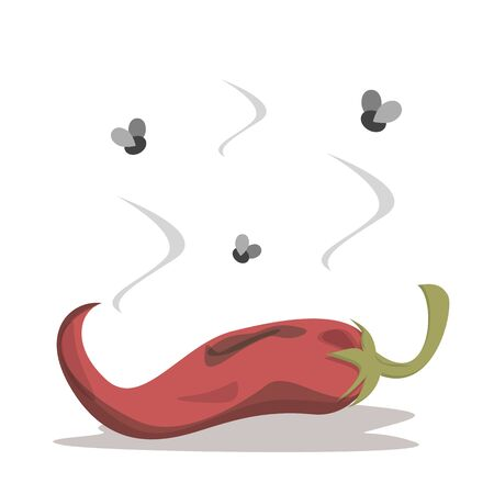 Fresh and tasty red chili pepper become bad vector isolated. Rotten food ingredient. Food waste concept. Dirty rotting meal. Vektorové ilustrace