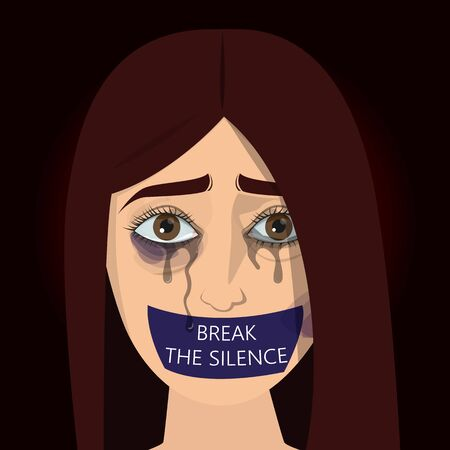 Stop domestic violence poster. Abuse and agression in family, woman crying, purple bruise on the face. Banner with victim. Illustration
