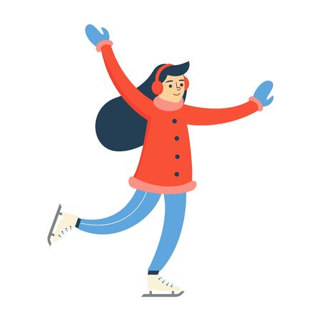 Woman in winter clothes skating vector isolated. Active girl on ice. Outdoor leisure, winter sport.