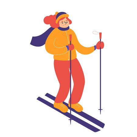 Female skier in winter clothes vector isolated. Illustration with girl doing extreme sport in winter. Outdoor hobby.