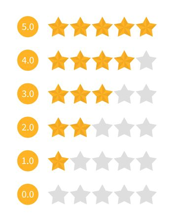 Star rating set vector isolated. Golden star shape. Quality of service measurement. Ranking system, review symbol. Classification and statistics. Rate button symbol. Evaluation in internet.