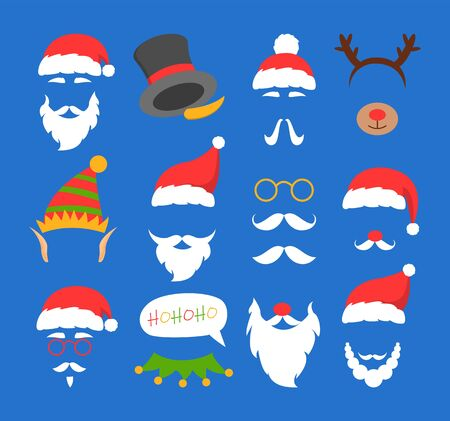 Santa Claus mask set vector isolated. Christmas white beard and red nose. Party element for photo booth. Mustache collection. Mery christmas sticker.