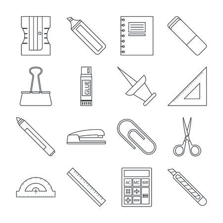 Stationery line icon collection vector isolated. Office and school equipment set. Marker, eraser and highlighter. Illustration