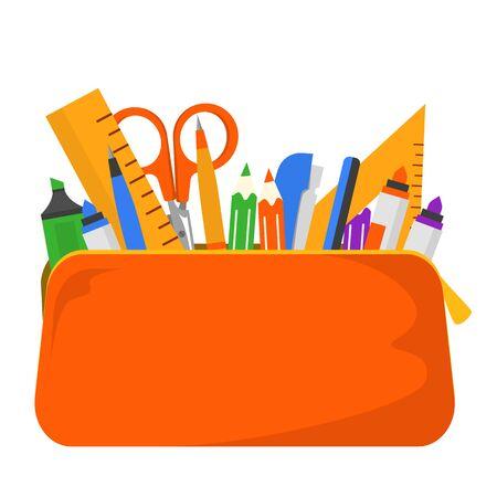 Briefpapier im Federmäppchenvektor lokalisiert. Sammlung von Schul- und Büromaterial. Feder und Bleistift, Lineal in verschiedenen Formen und Schere für die Bildung.