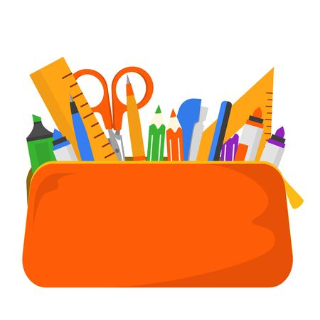 Papeterie dans le vecteur étui à crayons isolé. Collecte de fournitures scolaires et de bureau. Stylo et crayon, règle de diverses formes et ciseaux pour l'éducation.
