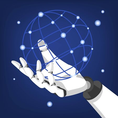 Robot hand hold globe vector isolated. Futuristic artificial intelligence technology. Robotic industry all over the planet.