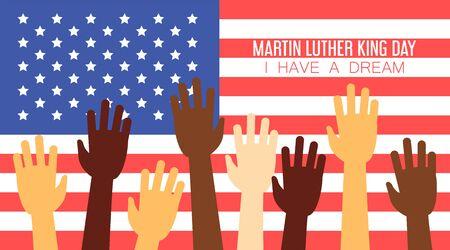 Fête nationale de Martin Luther King. J'ai une affiche de rêve. Célébration en Amérique. Liberté et droits de l'homme.