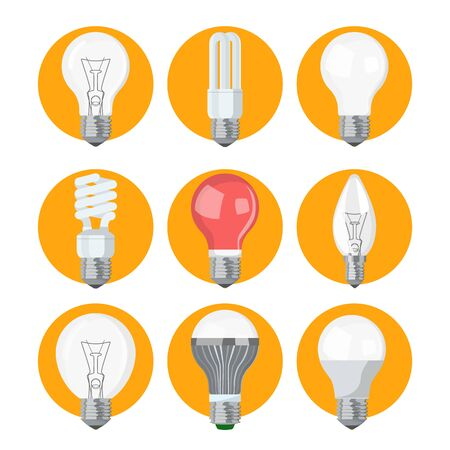 Light bulb collection vector isolated. Lamp icon, idea and energy symbol. Electrical device, power and light.