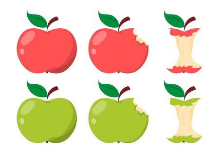 Apple core. Green and red sweet fruit. Illustration of food with a bite. Vector isolated delicious apple. Illusztráció