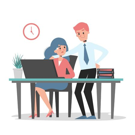 Sexual harassment at work vector isolated. Man touch woman employee at the workplace. Inappropriate behavior. Abuse at the job. Illustration