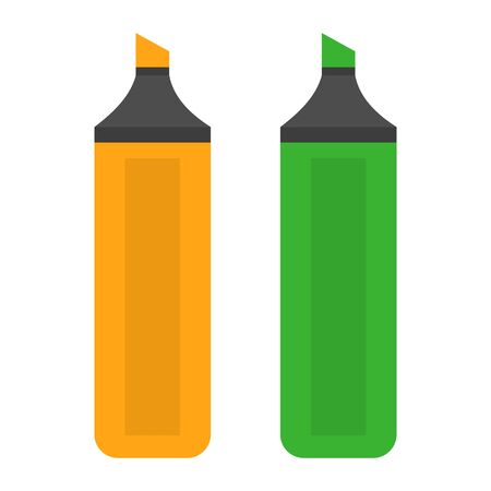 Colorful marker icon vector isolated. Highlight pen, office equipment. Permanent felt tip pen. Green and yellow color. 일러스트