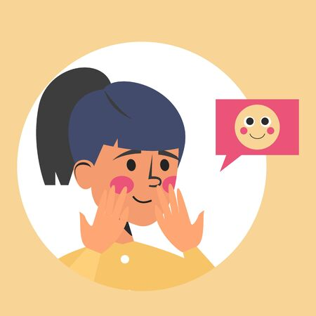 Shy woman and emoji face vector isolated. Cute young girl with blush on the cheeks.