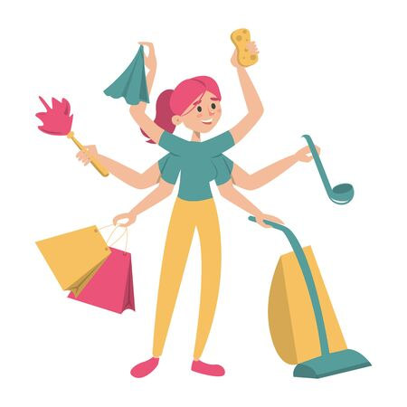 Multitasking housewife with many hands vector isolated. Colorful woman doing housework routine. Clenaing equipment in the arms. Happy girl.