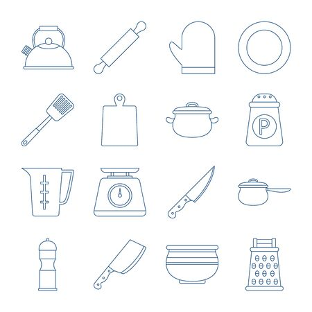 Kitchen utensil collection in vector line style. Isolated set of cooking equipment. Pot and butcher knife.