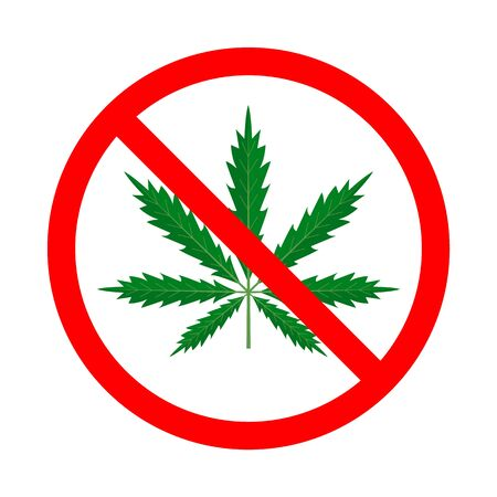 Narcotic in the red sign vector isolated. Drug addiction is prohibited and forbidden. Danger for health, marijuana weed.