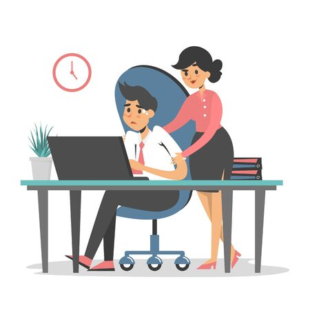 Sexual harassment at work vector isolated. Woman boss touch man employee at the workplace. Inappropriate behavior. Abuse at the job. Illustration