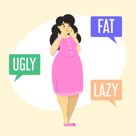 Ilustración aislada del vector de la vergüenza del cuerpo. Mujer gorda avergonzada de su cuerpo. Comentarios de odio a la persona con sobrepeso. Mujer llorando. Ilustración de vector