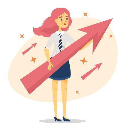 Beautiful business woman holding arrow vector isolated. Personal growth and progress. Manager and success in business.