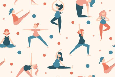 Seamless pattern with pregnant woman in yoga pose. Vector illustration of female person. Healthy pregnant stretching.