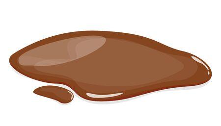 Vecteur de flaque de boue isolé. Liquide naturel d'automne brun sur le sol. Eau sale. Vecteurs