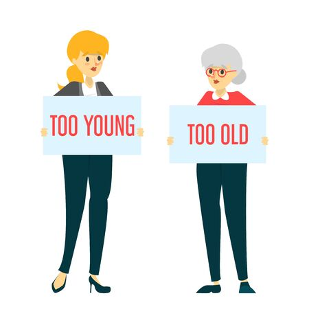 Too young and too old woman vector isolated. Idea of ageism, discrimination in society. Senior woman and problems with job searching.