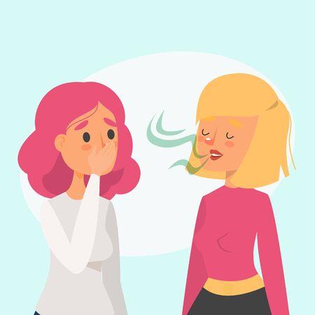 Frau mit Mundgeruch im Gespräch mit einem Freundvektor isoliert. Stinkender Geruch aus dem Mund. Problem mit der Gesundheit.