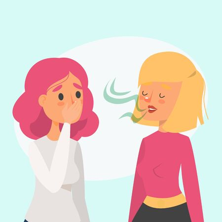 Woman with bad breath talking to a friend vector isolated. Stinky smell from the mouth. Problem with health.
