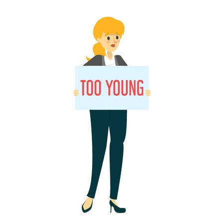 Too young sad woman holding board with a text vector isolated. Idea of ageism, discrimination in society. Young adult and problems with job searching. Çizim