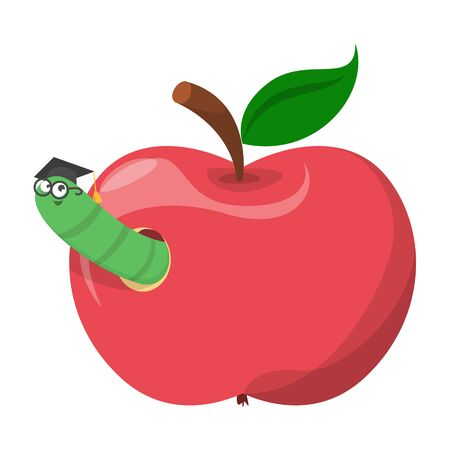 Apple worm vector isolated. Funny green insect in graduation cap looking out of the hole in red apple fruit. Worm in food.