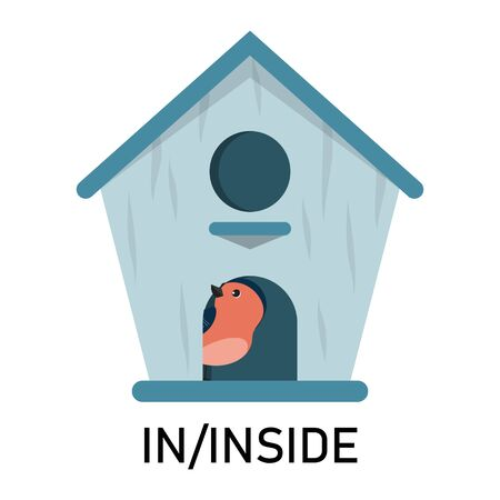 Bird and birdhouse, learning preposition vector isolated. Preschool education, study position of the object. Bird is hiding in the birdhouse.
