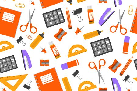 Stationery seamless vector pattern. Notebook, pencil, pen and scissors. School supplies set.