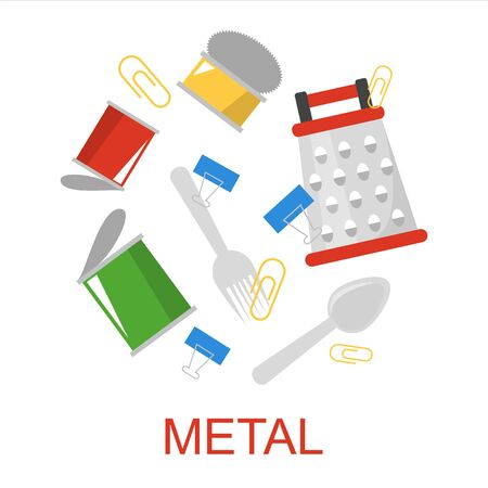 Metal garbage collection vector isolated. Waste sorting and segregation idea. Metal rubbish. Ecology friendly lifestyle. Çizim