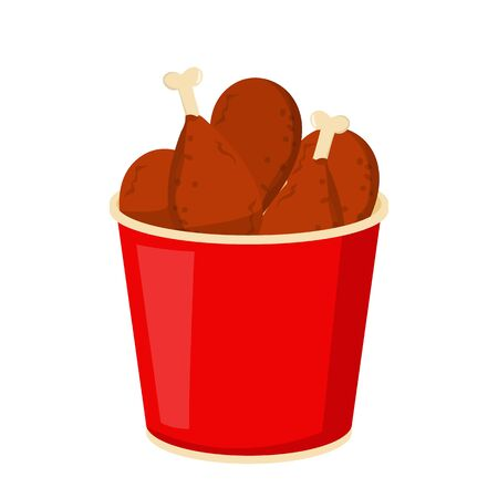 Chicken leg in a red bucket vector isolated. Fast food, fried chicken with crisp. Tasty meat, lunch and dinner idea.