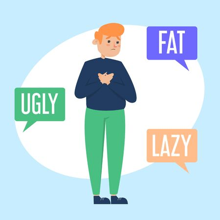 Body shame vector isolated illustration. Fat man ashamed of his body. Hateful comments to overweight person.