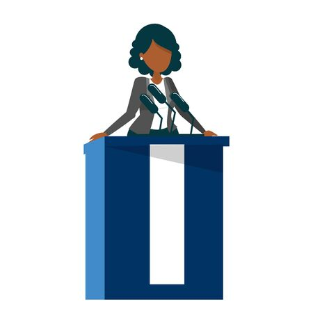 African american woman standing at the tribune vector isolated. Female candidate for president speaking to the microphone. Politician speaker. Çizim